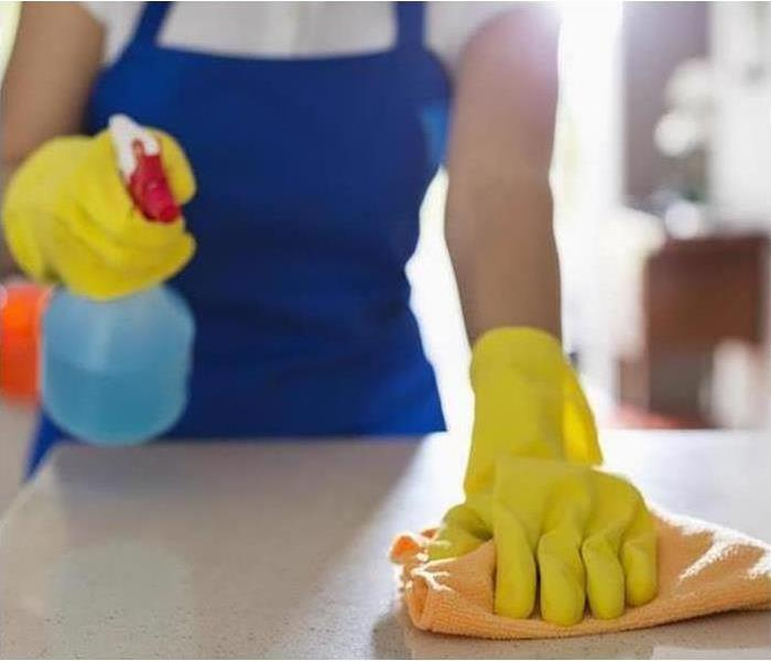 Woman Wearing Cloves While Cleaning her Countertop